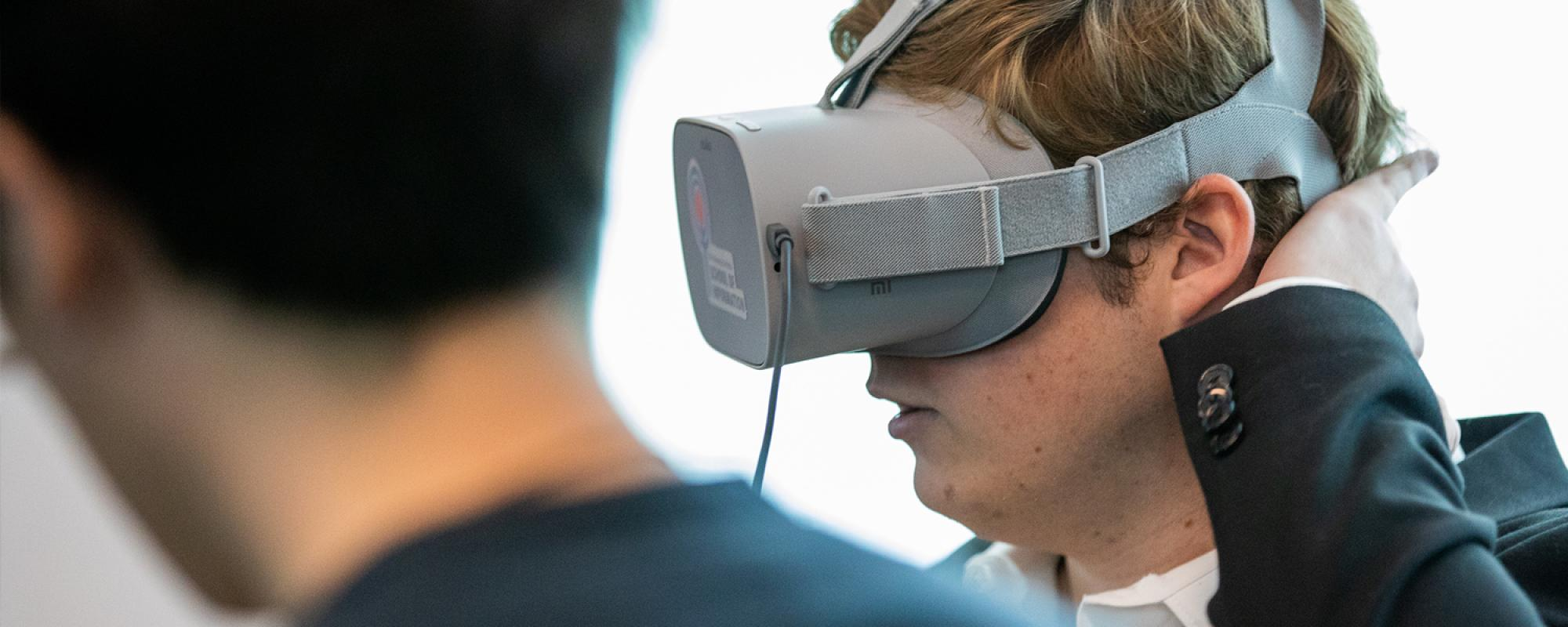 Student wearing virtual reality headset